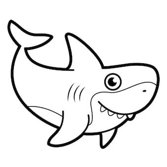 Книжка-раскраска или страница для детей. акула черно-белые векторные иллюстрации