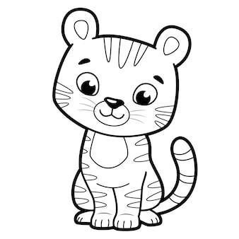 子供のための塗り絵やページ。タイガー黒と白のベクトル図