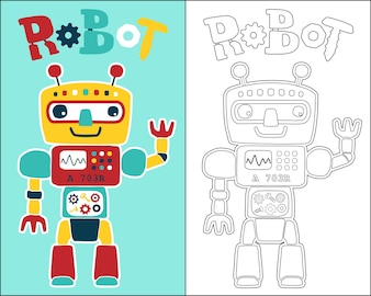 Coloring book or page with funny robot cartoon