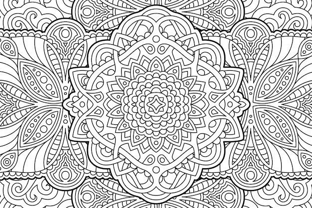 Coloring book page abstract linear