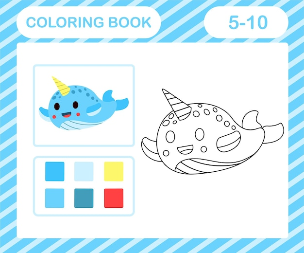 Coloring book or page cartoon cute narwhal,education game for kids age 5 and 10 year old