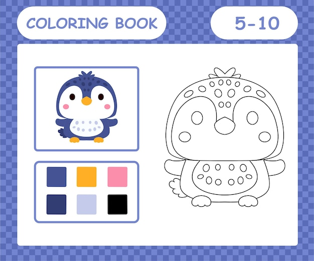 Coloring book or page cartoon cute penguin,education game for kids age 5 and 10 year old