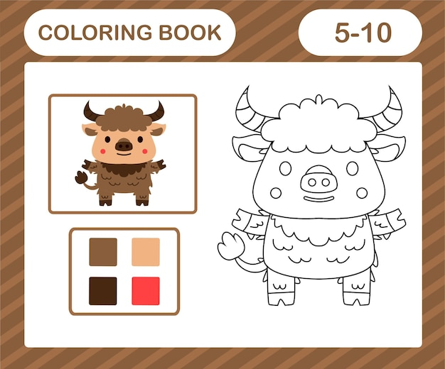 Coloring book or page cartoon cute yak,education game for kids age 5 and 10 year old