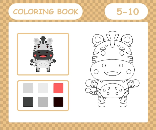 Coloring book or page cartoon cute zebra