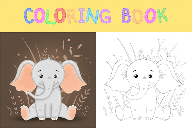 Coloring book or page for children of school and preschool age. developing children's coloring. vector cartoon illustration with cute elephant