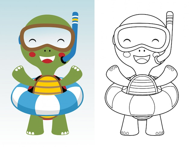 Coloring book or page of cute turtle cartoon