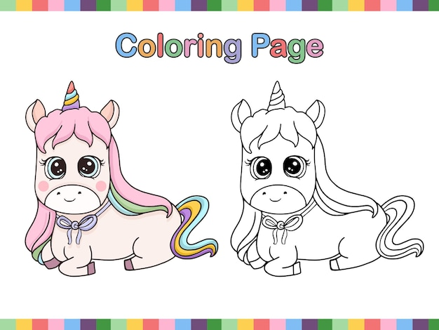 Coloring book page of cute unicorn outline cartoon