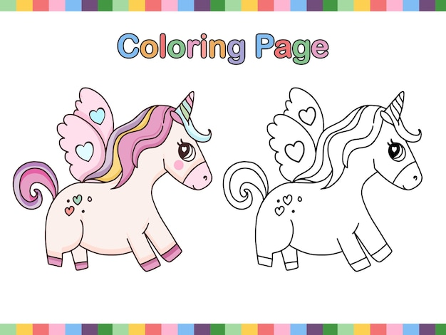 Coloring book page of cute unicorn pegasus outline cartoon