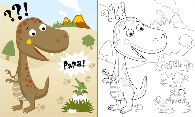 Coloring book or page of funny dinosaurs cartoon