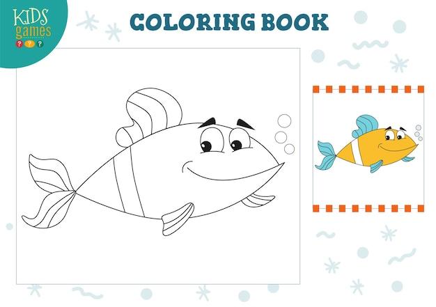 塗り絵ページゲームイラスト。漫画の魚のキャラクターを描いて着色する就学前の子供たちの活動。