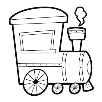 Coloring book or page for kids. black and white locomotive