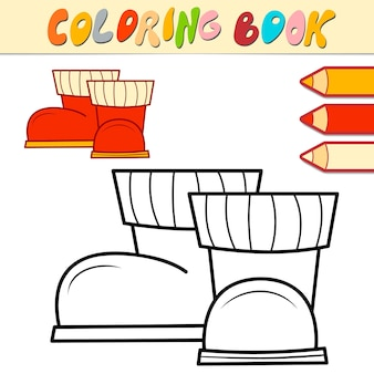 Coloring book or page for kids. christmas boots black and white vector illustration