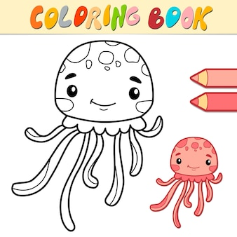 Coloring book or page for kids. jellyfish black and white illustration