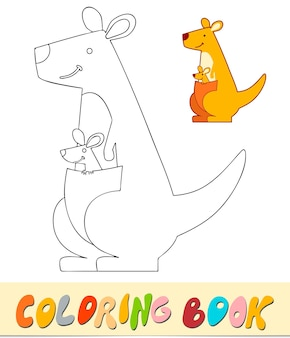 Coloring book or page for kids. kangaroo black and white vector illustration