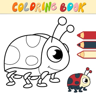 Coloring book or page for kids. ladybug black and white illustration