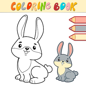 Coloring book or page for kids. rabbit black and white illustration
