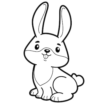 Coloring book or page for kids. rabbit black and white vector illustration