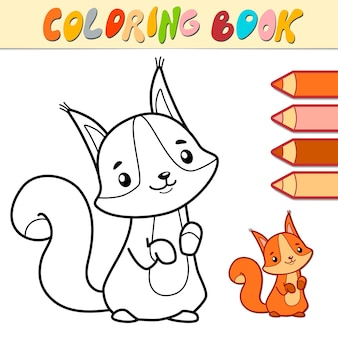 Coloring book or page for kids. squirrel black and white illustration