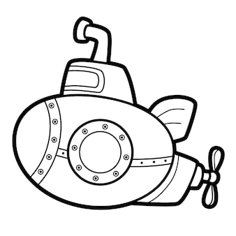 Coloring book or page for kids. submarine black and white vector illustration