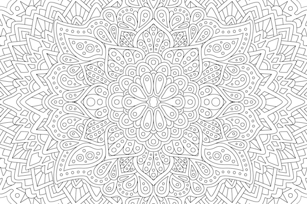 Coloring book page with abstract eastern pattern