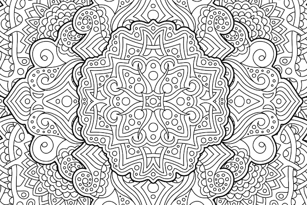Coloring book page with abstract  linear pattern