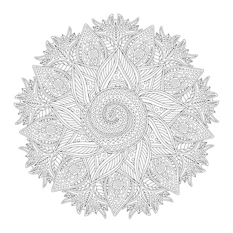 Coloring book page with abstract linear round pattern