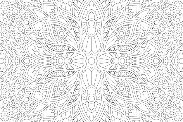 Coloring book page with abstract linear zen design