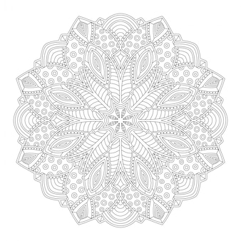 Coloring book page with abstract mandala