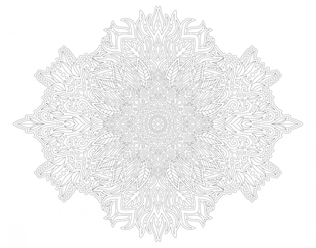 Coloring book page with abstract seamless pattern
