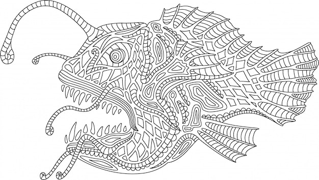 Coloring book page with angler fish on white background