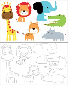 Coloring book or page with animals cartoon