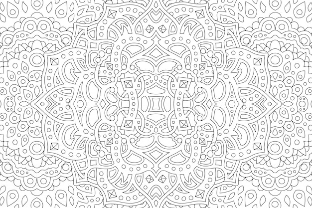Coloring book page with beautiful abstract