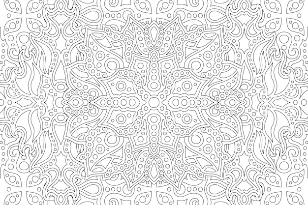 Coloring book page with black and white pattern