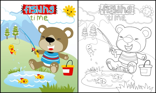 Coloring book or page with cute animal cartoon
