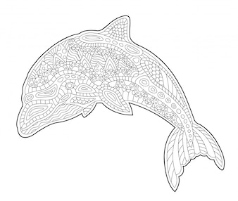 Coloring book page with cute stylized dolphin