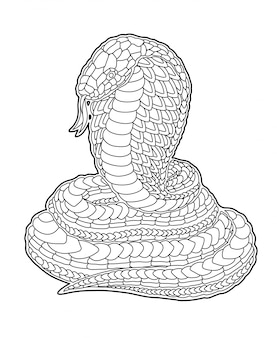 Coloring book page with decorative cartoon cobra
