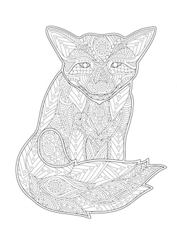 Coloring book page with fox on white background