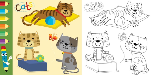 Coloring book or page with funny cats cartoon