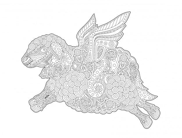 Coloring book page with funny flying sheep