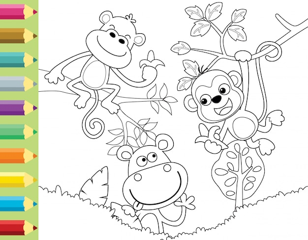 Coloring book or page with funny monkey cartoon