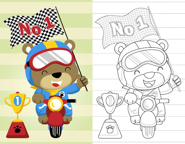 Coloring book or page with funny motor racer cartoon