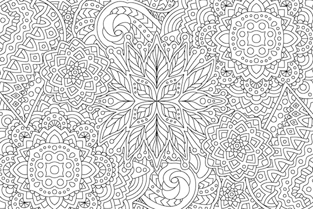 Coloring book page with linear monochrome art