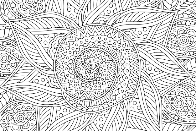 Coloring book page with linear pattern with spiral