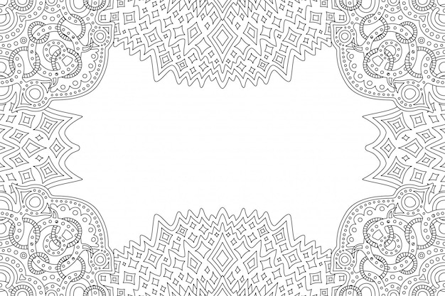 Coloring book page with linear vintage frame