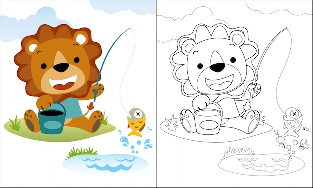 Coloring book or page with lion cartoon fishing
