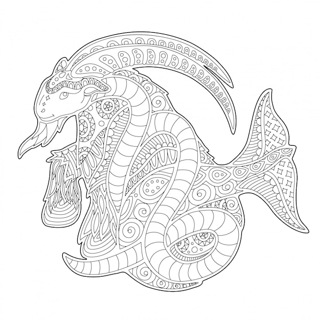Coloring book page with nice capricorn silhouette