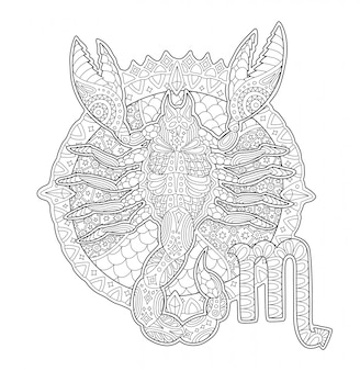 Coloring book page with scorpion and zodiac sign