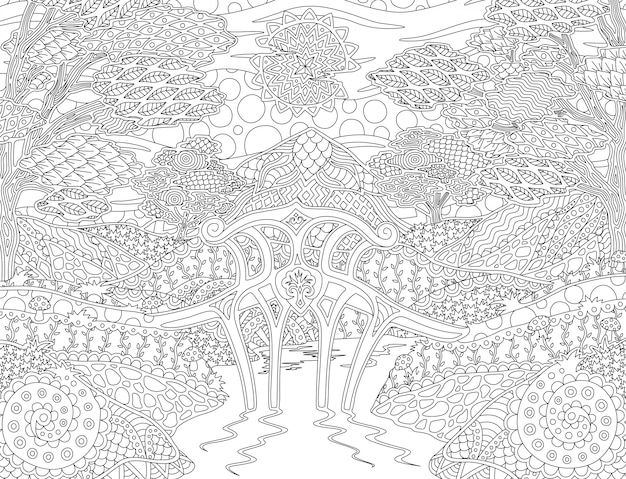 Coloring book page with sunny fantasy landscape
