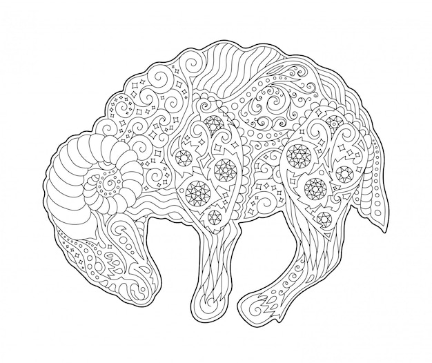 Coloring book page with zodiac symbol aries