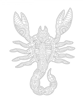 Coloring book page with zodiac symbol scorpio